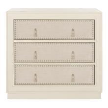 Lupita 3 Drawer Chest - Antique Beige / Beige Linen / Nickel
