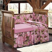 Baby Pink Camo 4-pc Crib Bedding Set