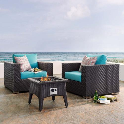 Convene 3 Piece Set Outdoor Patio with Fire Pit in Espresso Turquois