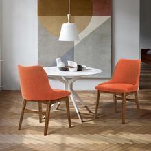 Azalea Orange Fabric and Walnut Wood Dining Side Chairs - Set of 2