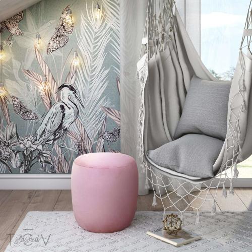 Tov Furniture - Willow Blush Velvet Ottoman