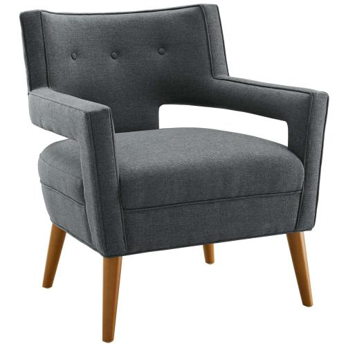 Modway - Sheer Upholstered Fabric Armchair Set of 2 in Gray