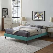 Loryn King Fabric Bed Frame with Round Splayed Legs in Teal