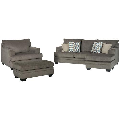 Sofa Chaise, Chair, and Ottoman