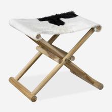 Campaign Folding Stool-White&Black Leather/Teak