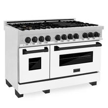 """See Details - ZLINE Autograph Edition 48"""" 6.0 cu. ft. Dual Fuel Range with Gas Stove and Electric Oven in DuraSnow® Stainless Steel with White Matte Door with Accents (RASZ-WM-48) [Color: Matte Black]"""