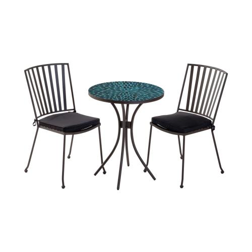 Conserve Stackable Iron Bistro Chair (Black Olefin Cushion Inclusive)