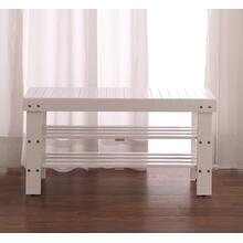 Product Image - White Finish Quality Solid Wood Shoe Bench With Storage