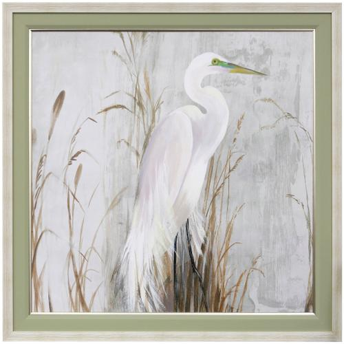 Style Craft - HERON IN THE REEDS  42 X 42  Made in USA  Textured Framed Print