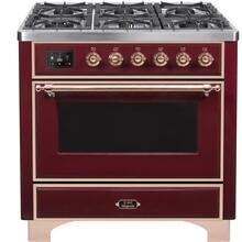 Majestic II 36 Inch Dual Fuel Liquid Propane Freestanding Range in Burgundy with Copper Trim