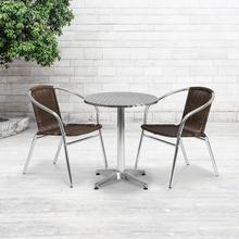See Details - 23.5'' Round Aluminum Indoor-Outdoor Table Set with 2 Dark Brown Rattan Chairs