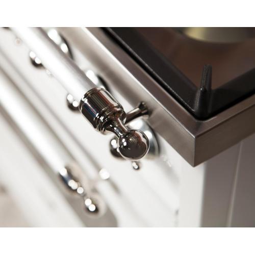 Ilve - Nostalgie 40 Inch Dual Fuel Liquid Propane Freestanding Range in Antique White with Chrome Trim