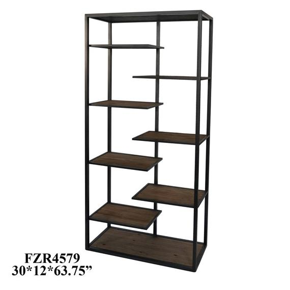 Crestview Collections - Hendrick Metal and Wood Offset Etagere