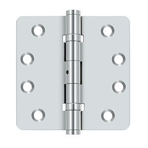 """Deltana - 4"""" x 4"""" x 1/4"""" Radius Hinges, Ball Bearings, NRP, Solid Brass - Polished Chrome"""