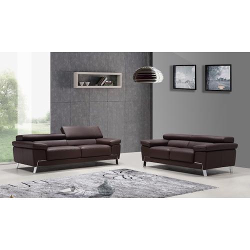 Divani Casa Wanda Modern Brown Leather Sofa Set