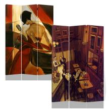 See Details - 3 Panels Double Sided Canvas Painting Room Divider Screen - Night At Bar
