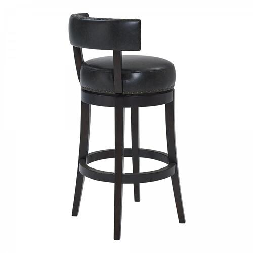 "Armen Living Corbin 26"" Counter Height Barstool in Espresso Finish and Onyx Faux Leather"