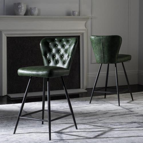 Ashby Mid Century Modern Leather Tufted Swivel Counter Stool - Green / Black