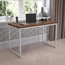 "Tiverton Industrial Modern Desk - Commercial Grade Office Computer Desk and Home Office Desk - 47"" Long (Walnut\/White)"