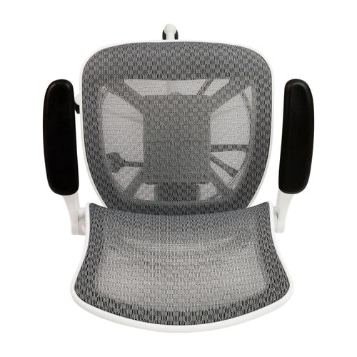 Gallery - Mid-Back Transparent Gray Mesh Drafting Chair with White Frame and Flip-Up Arms