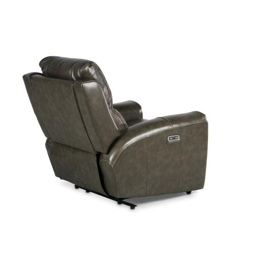 Laurel Dual-Power Leather Recliner, Grey
