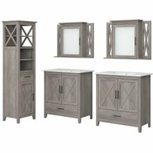 See Details - 64W Double Vanity Set with Sinks, Medicine Cabinets and Linen Tower, Driftwood Gray