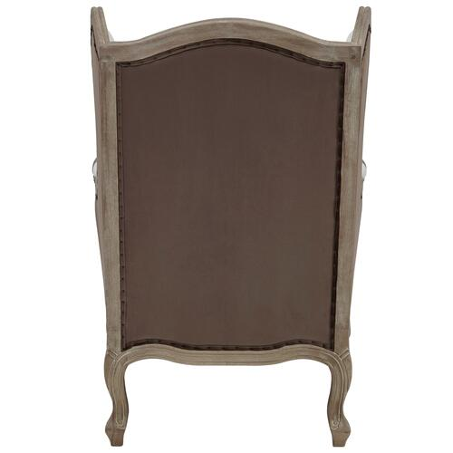 New Pacific Direct - Guinevere Wing Accent Arm Chair Brushed Smoke Frame, Cardiff Cream/Velvet Brown