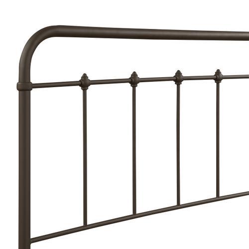 Curved Corner Metal Full Bed in Brown