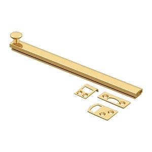 """Deltana - 8"""" Surface Bolt, Concealed Screw, HD - PVD Polished Brass"""