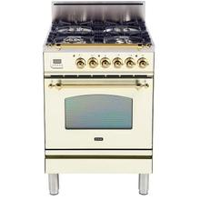 Nostalgie 24 Inch Gas Natural Gas Freestanding Range in Antique White with Brass Trim