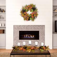 Fraser Hill Farm 42-inch Fall Harvest 5-Candle Holder Centerpiece with Pumpkins, Mixed Leaves and Pine Cones in a Wooden Box, FF042HVTT001-0MLT