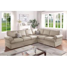 Dori 2pc Sectional Sofa Set, Beige Glossy