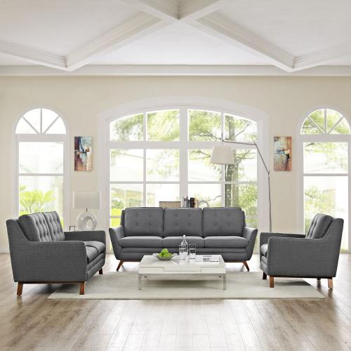 Beguile Living Room Set Upholstered Fabric Set of 3 in Gray