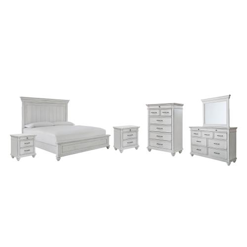Gallery - Queen Panel Bed With Mirrored Dresser, Chest and 2 Nightstands