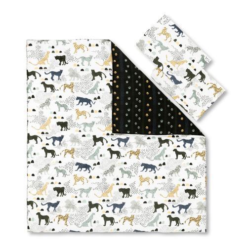 Dreamit - Comforter and Pillowcase Safari Wild Cats, White and Green, Full
