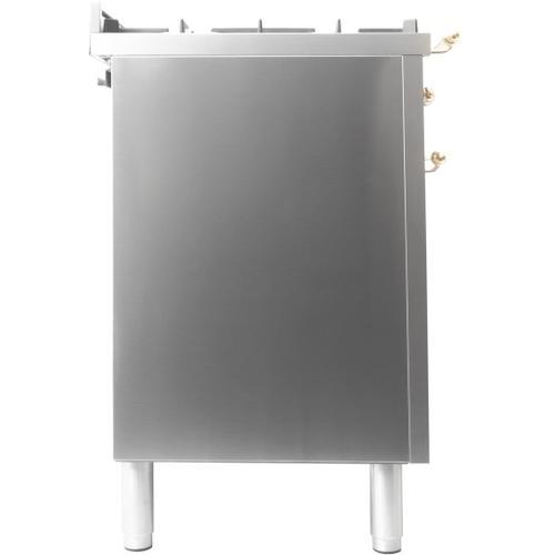 Nostalgie 48 Inch Dual Fuel Liquid Propane Freestanding Range in Stainless Steel with Brass Trim
