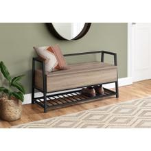 "BENCH - 42""L / DARK TAUPE STORAGE / BLACK METAL"