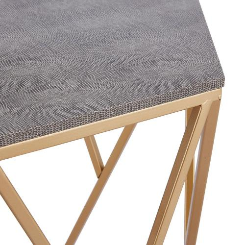 Cressa Faux Shagreen Side/ End Table, Chronicle Gray