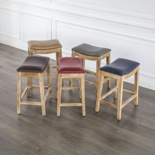 Elmo Bonded Leather Counter Stool Weathered Smoke Legs, Vintage Red