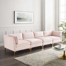 Ardent 4-Seater Performance Velvet Sofa in Pink