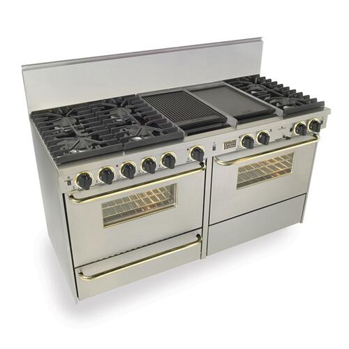 """Five Star - 60"""" Dual Fuel, Convect, Self Clean, Sealed Burners, Stainless Steel with Br"""