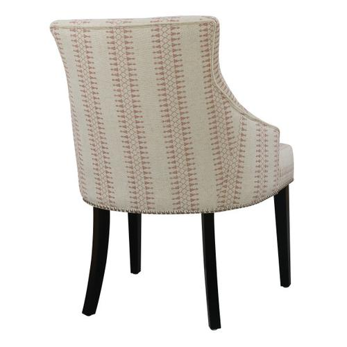 Button Back Upholstered Accent Chair in Cream / Red Geometric Pattern