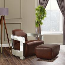SU-AX1902-AO  Leather and Chrome Aviator Armchair with Ottoman  Brown