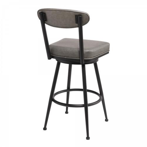 """Denver Contemporary 30"""" Bar Height Barstool in Black Finish and Vintage Grey Faux Leather"""