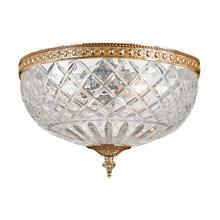 3 Light Brass Crystal Ceiling Mount