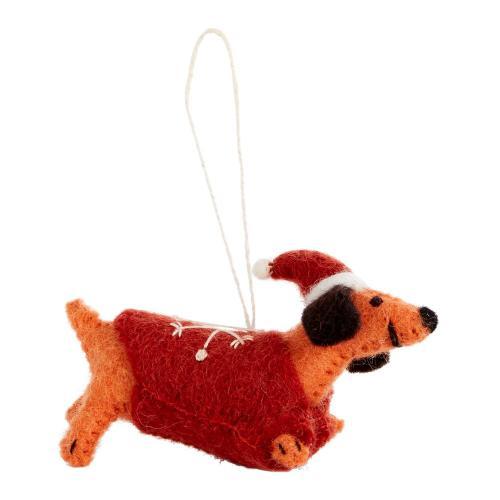 """4.75""""x 1.75""""x 2.5"""" Red Fido Ornament (Wiener Option)"""