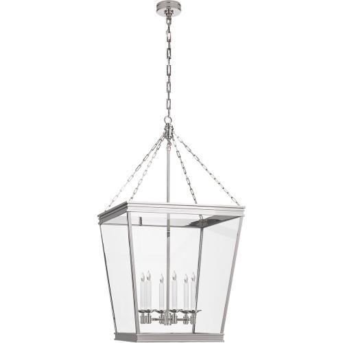 Visual Comfort CHC5612PN-CG E. F. Chapman Launceton 4 Light 24 inch Polished Nickel Foyer Lantern Ceiling Light, Large Square