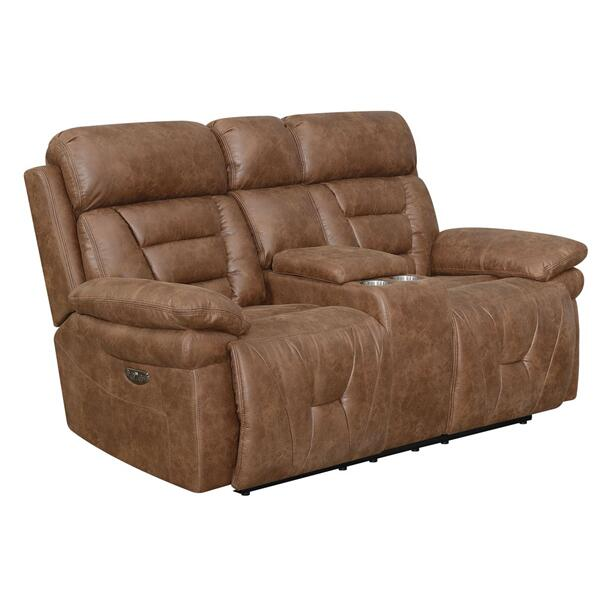 See Details - Brock Dual-Power Reclining Console Loveseat, Cinnamon