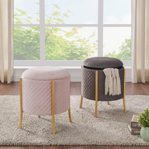 Casper Quilted Velvet Fabric Rount Storage Ottoman, Serene Blush Pink