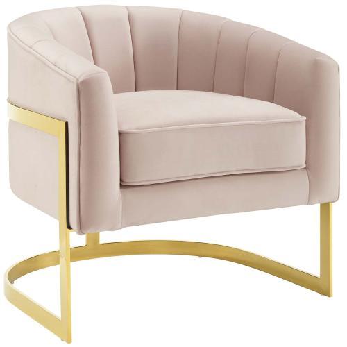 Esteem Accent Armchair Performance Velvet Set of 2 in Pink